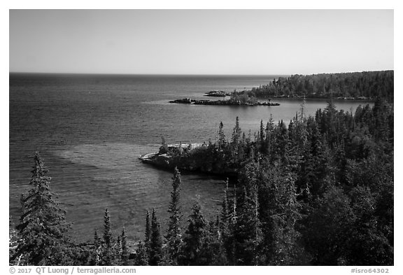 Costline seen from top of Rock Harbor Lighthouse. Isle Royale National Park (black and white)