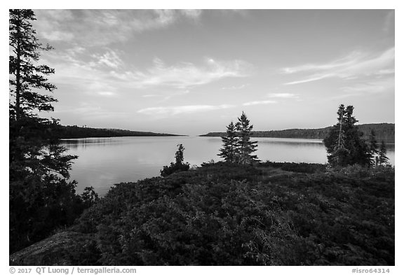 Moskey Basin, late afternoon. Isle Royale National Park (black and white)