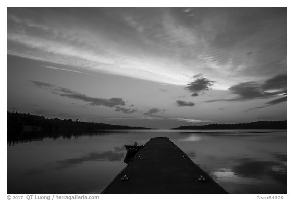 Dock and Moskey Basin, sunrise. Isle Royale National Park (black and white)