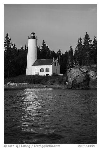 Rock Harbor Lighthouse and reflection. Isle Royale National Park (black and white)