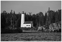 Rocks and Rock Harbor Lighthouse. Isle Royale National Park ( black and white)