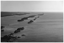 Aerial view of outer island archipelago. Isle Royale National Park ( black and white)