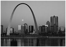 Moon, Arch and downtown skyline at dawn. Gateway Arch National Park ( black and white)