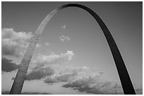 Gateway Arch and clouds at sunset. Gateway Arch National Park ( black and white)