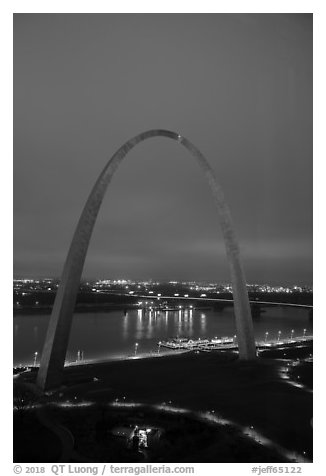 Arch, lighted paths, and Mississippi River from above at dawn. Gateway Arch National Park (black and white)