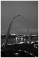 Arch, lighted paths, and Mississippi River from above at dawn. Gateway Arch National Park ( black and white)