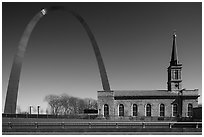 Old Cathedral and Arch. Gateway Arch National Park ( black and white)