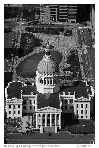 Old Courthouse and Kiener Plaza Park from top of Arch. Gateway Arch National Park (black and white)