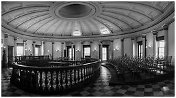 Historic circuit court, Old Courthouse. Gateway Arch National Park (Panoramic black and white)