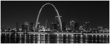 St Louis skyline across Mississippi River at night. Gateway Arch National Park (Panoramic black and white)