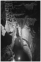 Crystal Lake seen from shaft above. Mammoth Cave National Park ( black and white)