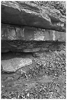 Limestone slabs and overhangs. Mammoth Cave National Park ( black and white)