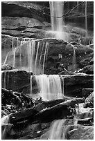 Stream cascading over limestone rocks. Mammoth Cave National Park ( black and white)