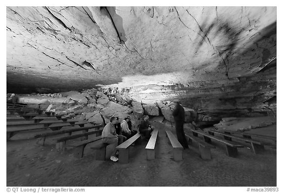 Talk in large room inside cave. Mammoth Cave National Park, Kentucky, USA.