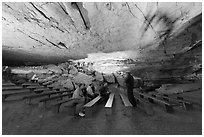 Talk in large room inside cave. Mammoth Cave National Park ( black and white)
