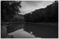 Green River at sunset, Houchin Ferry. Mammoth Cave National Park ( black and white)