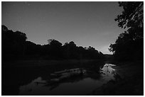 Green River at night, Houchin Ferry. Mammoth Cave National Park ( black and white)