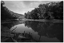 Calm waters of Green River, Houchin Ferry. Mammoth Cave National Park ( black and white)