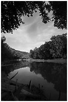 Green River and reflections at Houchin Ferry. Mammoth Cave National Park ( black and white)