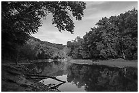 Visitor looking, Green River. Mammoth Cave National Park ( black and white)
