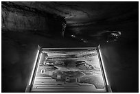 Cave creation Interpretive sign. Mammoth Cave National Park ( black and white)