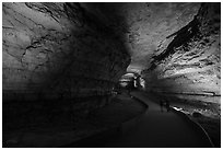 Couple walking down path in cave. Mammoth Cave National Park ( black and white)