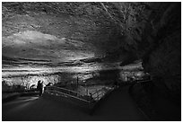 Vistors in Rotunda Room. Mammoth Cave National Park ( black and white)