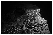 Visitors walk out of cave via historic entrance. Mammoth Cave National Park ( black and white)