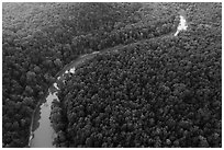 Aerial view of Green River curve. Mammoth Cave National Park ( black and white)