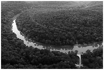 Aerial view of Green River and Houchin Ferry. Mammoth Cave National Park ( black and white)