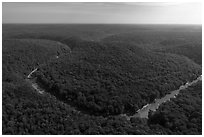 Aerial view of Turnhole Bend of the Green River. Mammoth Cave National Park ( black and white)