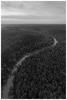 Aerial view of Green River at sunset. Mammoth Cave National Park ( black and white)