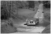 Car crossing Green River on ferry. Mammoth Cave National Park ( black and white)