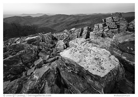 Rectangular rocks at dusk, Black Rock. Shenandoah National Park (black and white)