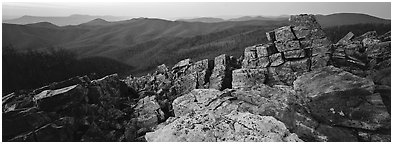 Eastern mountain landscape at dusk. Shenandoah National Park (Panoramic black and white)
