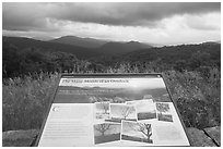 Many moods interpretive sign. Shenandoah National Park ( black and white)