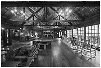 Inside Big Meadows Lodge. Shenandoah National Park ( black and white)