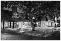 Big Meadows Lodge at night. Shenandoah National Park ( black and white)