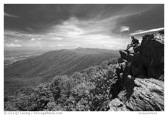 Hiker on Hawksbill Mountain. Shenandoah National Park (black and white)