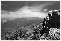 Hiker on Hawksbill Mountain. Shenandoah National Park ( black and white)