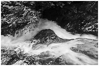 Robinson River whitewater in Whiteoak Canyon. Shenandoah National Park ( black and white)
