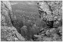 Forested slopes seen through a rock window, Little Stony Man. Shenandoah National Park, Virginia, USA. (black and white)