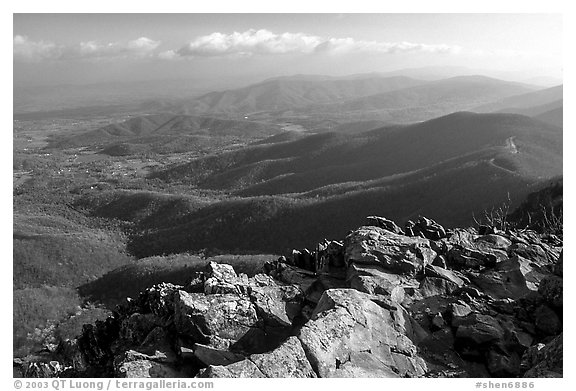 Panorama from Little Stony Man, early morning. Shenandoah National Park (black and white)