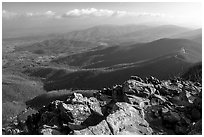 Panorama from Little Stony Man, early morning. Shenandoah National Park ( black and white)