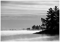 Fog lifting up in early morning and trees on shore of Kabetogama lake. Voyageurs National Park, Minnesota, USA. (black and white)