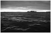 Choppy Kabetogama Lake waters during a storm. Voyageurs National Park ( black and white)