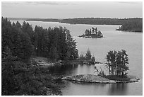 Anderson Bay. Voyageurs National Park, Minnesota, USA. (black and white)