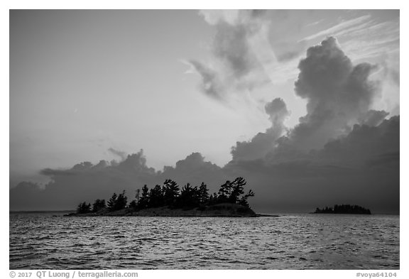Islets and clouds at sunset, Rainy Lake. Voyageurs National Park (black and white)