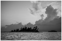 Islets and clouds at sunset, Rainy Lake. Voyageurs National Park ( black and white)