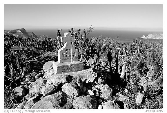 Monument commemorating Juan Rodriguez Cabrillo's landing on  island in 1542, San Miguel Island. Channel Islands National Park (black and white)